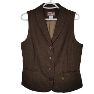 April Cornell Tweed Collared Suit Vest Brown